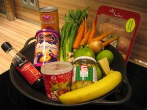 Zutaten für Thai Curry & Bananen in Kokosmilch